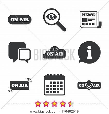 On air icons. Live stream signs. Microphone symbol. Newspaper, information and calendar icons. Investigate magnifier, chat symbol. Vector