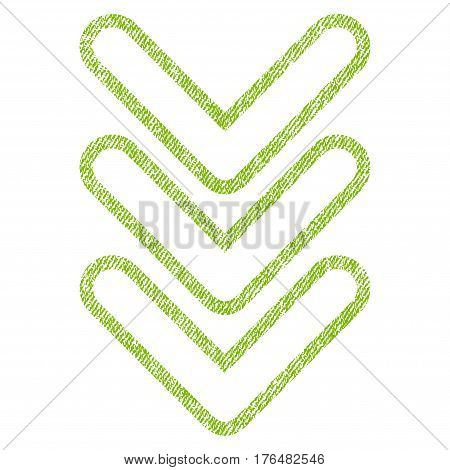 Triple Pointer Down vector textured icon for overlay watermark stamps. Fabric light green vectorized texture. Symbol with dirty design. Rubber seal stamp with fiber textile structure.