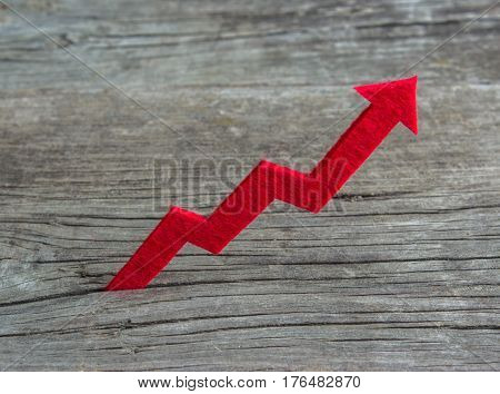 Red graph is growing up on a wooden background