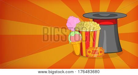Circus horizontal banner concept magician. Cartoon illustration of circus vector horizontal banner for web