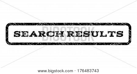 Search Results watermark stamp. Text caption inside rounded rectangle with grunge design style. Rubber seal stamp with unclean texture. Vector black ink imprint on a white background.