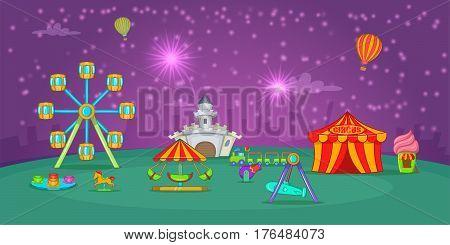 Circus horizontal banner concept starry sky. Cartoon illustration of circus vector horizontal banner for web