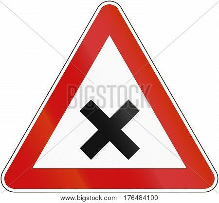 Croatian Regulatory Road Sign - Crossroads With Right-of-way From The Right