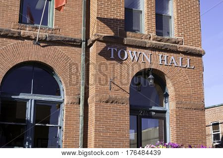 Antigonish, Nova Scotia, September 24, 2015 -- Wide shot slightly skewed for effect of the Town hall in Antigonish, Nova Scotia on a beautiful sunny afternoon in September