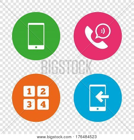 Phone icons. Smartphone incoming call sign. Call center support symbol. Cellphone keyboard symbol. Round buttons on transparent background. Vector