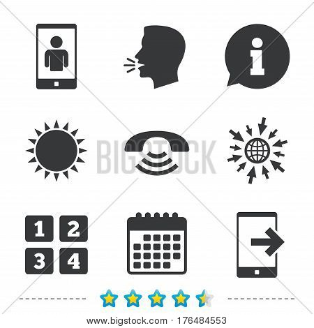 Phone icons. Smartphone video call sign. Call center support symbol. Cellphone keyboard symbol. Information, go to web and calendar icons. Sun and loud speak symbol. Vector