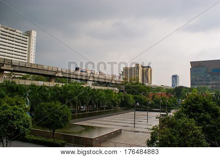 BTS Skytrain (also known as the Bankok Mass Transit System) on elevated rail near Siam Paragon