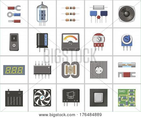 A set of electronic parts and components