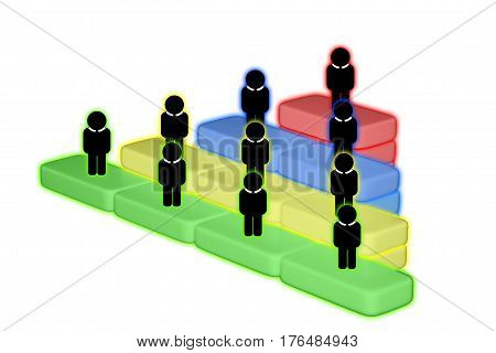 Human resources officer choose employee standing out of the crowd. Select team leader concept. Gender discrimination in employees selection on white