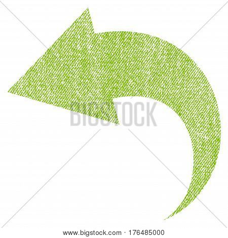Undo vector textured icon for overlay watermark stamps. Fabric light green vectorized texture. Symbol with scratched design. Rubber seal stamp with fiber textile structure.