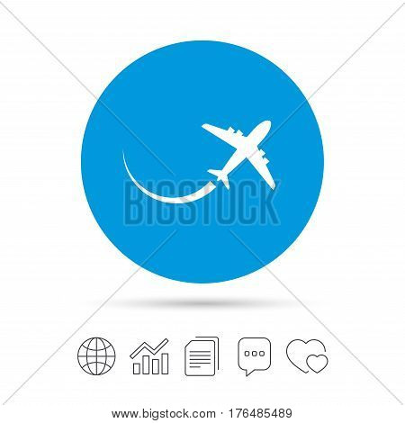 Airplane sign icon. Travel trip symbol. Copy files, chat speech bubble and chart web icons. Vector