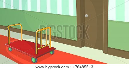 Hotel horizontal banner concept corridor. Cartoon illustration of hotel vector horizontal banner concept for web