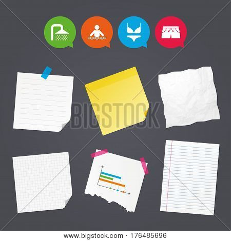 Business paper banners with notes. Swimming pool icons. Shower water drops and swimwear symbols. Human stands in sea waves sign. Trunks and women underwear. Sticky colorful tape. Vector