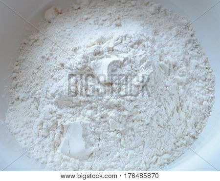 Top fine wheat flour and whole meal barley bottom