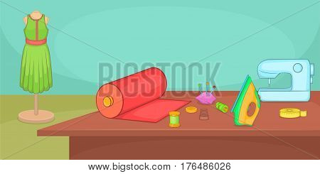 Tailor horizontal banner concept table. Cartoon illustration of tailor vector horizontal banner concept for web