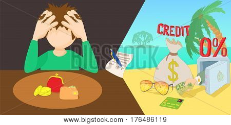 Credit problem horizontal banner concept. Cartoon illustration of Credit problem vector horizontal banner concept for web