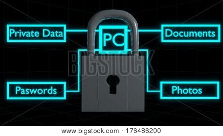 Digital lock protecting your personal data from intruders, hackers and viruses. Great for representing anti-virus software.