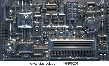 Metal electronic details, wires and tubes texture. Can be used as a background or a texture for a 3d model when smaller details are needed to save time modelling and rendering time.