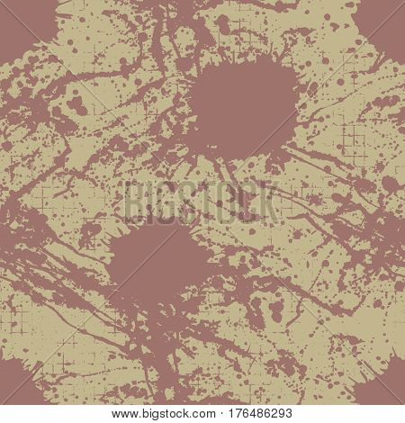 Vector Seamless Pattern, Tile With Inc Splash, Blots, Smudge And Brush Strokes. Grunge Endless Templ