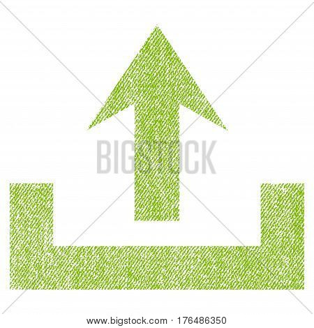 Upload vector textured icon for overlay watermark stamps. Fabric light green vectorized texture. Symbol with scratched design. Rubber seal stamp with fiber textile structure.