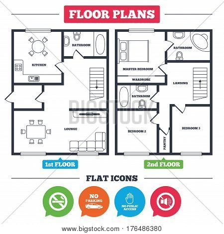 Architecture plan with furniture. House floor plan. Stop smoking and no sound signs. Private territory parking or public access. Cigarette and hand symbol. Kitchen, lounge and bathroom. Vector