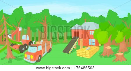 Logging horizontal banner concept. Cartoon illustration of logging vector horizontal banner concept for web