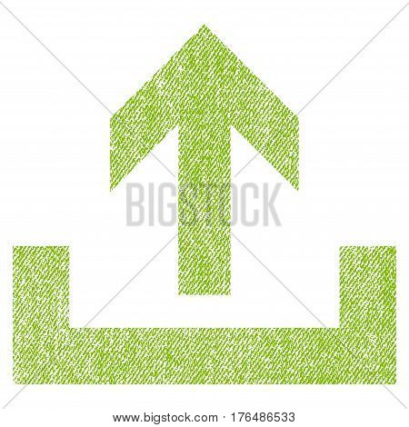 Upload vector textured icon for overlay watermark stamps. Fabric light green vectorized texture. Symbol with unclean design. Rubber seal stamp with fiber textile structure.