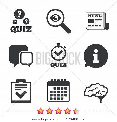 Quiz icons. Human brain think. Checklist and stopwatch timer symbol. Survey poll or questionnaire feedback form sign. Newspaper, information and calendar icons. Investigate magnifier, chat symbol
