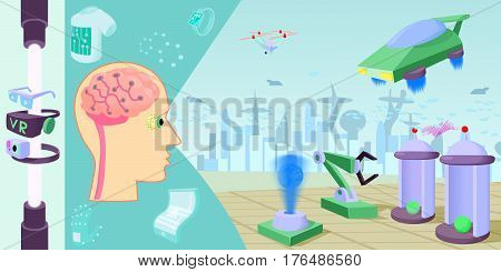 Future high-tech horizontal banner concept. Cartoon illustration of future high-tech vector horizontal banner concept for web
