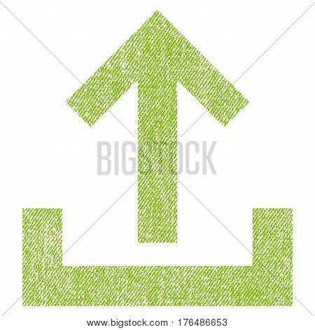 Upload vector textured icon for overlay watermark stamps. Fabric light green vectorized texture. Symbol with dust design. Rubber seal stamp with fiber textile structure.