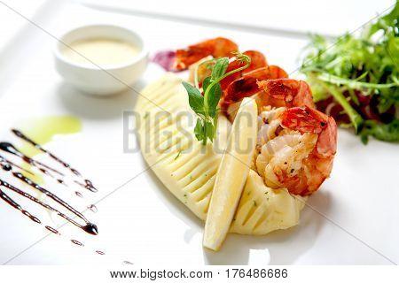 Seafood - Fried Shrimps On A White Plate