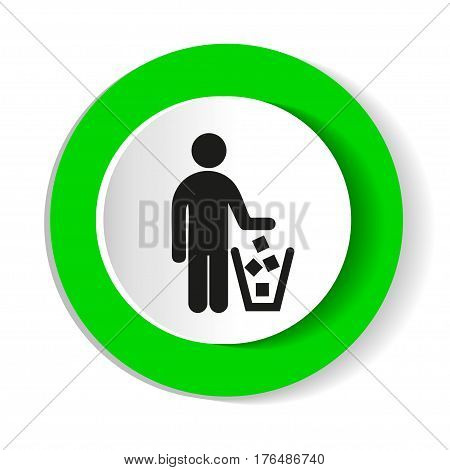 No littering sign vector. Round green icon.