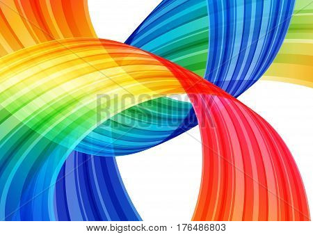 Abstract bright rainbow background multicolored curve element on white