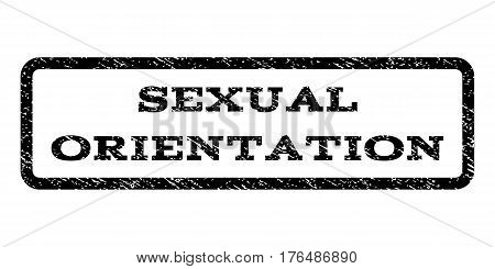 Sexual Orientation watermark stamp. Text caption inside rounded rectangle frame with grunge design style. Rubber seal stamp with unclean texture. Vector black ink imprint on a white background.