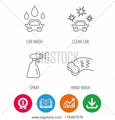 Car wash icons. Automatic cleaning station linear signs. Hand wash, sponge and spray flat line icons. Award medal, growth chart and opened book web icons. Download arrow. Vector