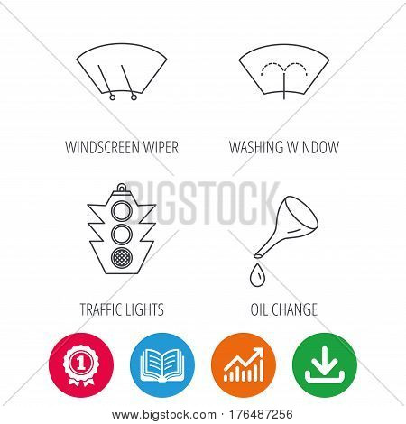 Motor oil change, traffic lights and wiper icons. Washing window, windscreen wiper linear signs. Award medal, growth chart and opened book web icons. Download arrow. Vector