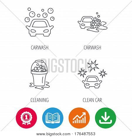 Car wash icons. Automatic cleaning station linear signs. Wet cleaning and foam bucket flat line icons. Award medal, growth chart and opened book web icons. Download arrow. Vector
