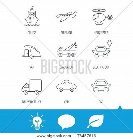 Transportation icons. Car, ship and truck linear signs. Airplane, helicopter and evacuator flat line icons. Light bulb, speech bubble and leaf web icons. Vector