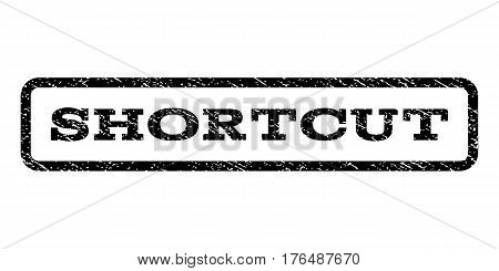 Shortcut watermark stamp. Text tag inside rounded rectangle frame with grunge design style. Rubber seal stamp with dust texture. Vector black ink imprint on a white background.