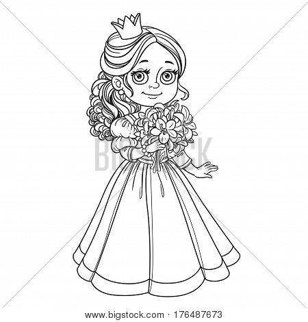 Beautiful Princess Holding Bouquet Of Lilies In Hand Outline For