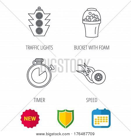 Race, traffic lights and speed icons. Bucket with foam, fire wheel linear signs. Shield protection, calendar and new tag web icons. Vector