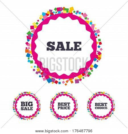 Web buttons with confetti pieces. Sale icons. Best choice and price symbols. Big sale shopping sign. Bright stylish design. Vector