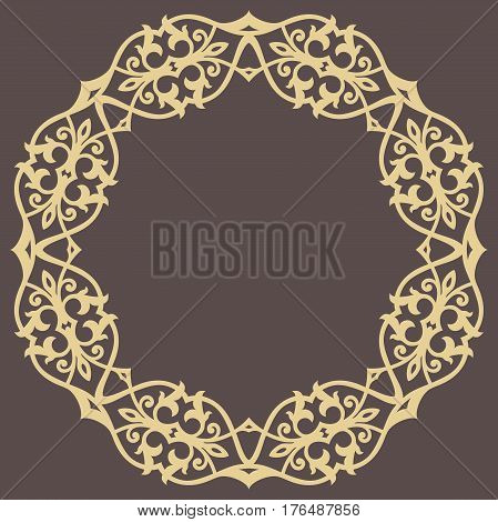 Oriental vector round golden pattern with arabesques and floral elements. Traditional classic ornament. Vintage pattern with arabesques