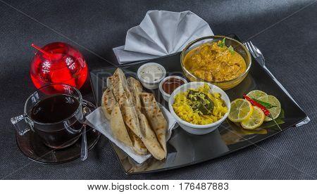 Oriental Indian Set, Chicken Korma, Naan Bread, Plate, Coffee,  Drink, Napkin, Peppers, Sauces