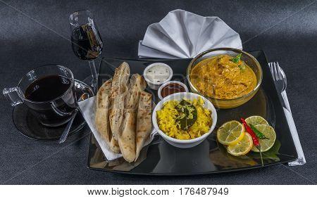 Oriental Indian Set, Chicken Korma, Naan Bread, Plate, Coffee, Liqueur, Napkin, Peppers, Sauces
