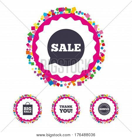 Web buttons with confetti pieces. Sale speech bubble icon. Thank you symbol. Bonus star circle sign. Big sale shopping bag. Bright stylish design. Vector