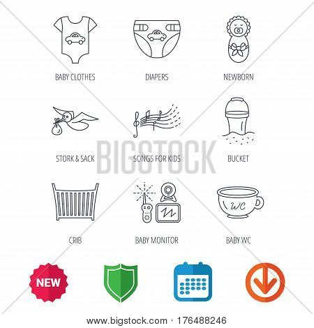 Diapers, newborn baby and clothes icons. Kids songs, beach bucket and bed linear signs. Video monitoring, wc flat line icons. New tag, shield and calendar web icons. Download arrow. Vector