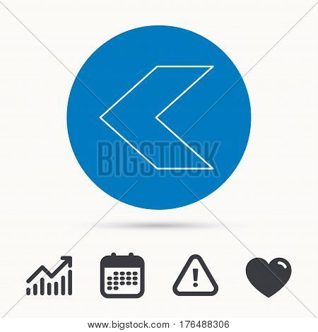 Back arrow icon. Previous sign. Left direction symbol. Calendar, attention sign and growth chart. Button with web icon. Vector