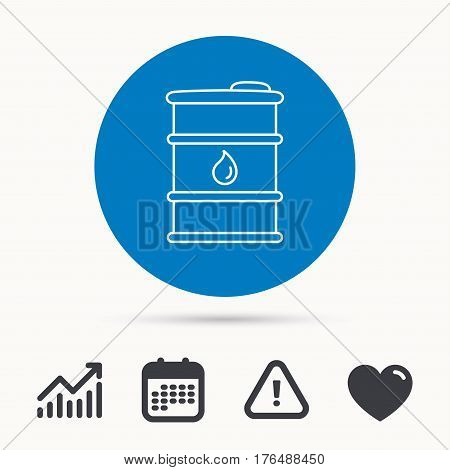 Barrel of oil icon. Cask with water drop sign. Fuel symbol. Calendar, attention sign and growth chart. Button with web icon. Vector