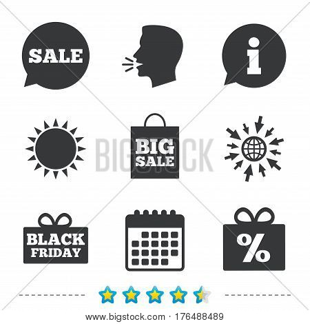 Sale speech bubble icon. Black friday gift box symbol. Big sale shopping bag. Discount percent sign. Information, go to web and calendar icons. Sun and loud speak symbol. Vector